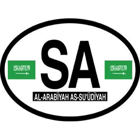 Saudi Arabia Oval Glossly FLAG Decal, Waterproof UV Coated Laminated Reflective Vinyl STICKER, 3.5