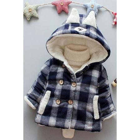 Infant Babies Thick Plaid Warm Winter Jacket