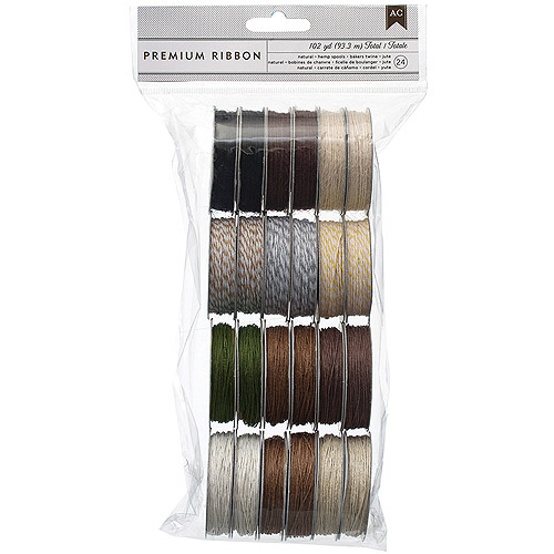 Value Pack Twine Assortment, 5 Yards/Spool, 24/Pkg, 12 Natural Colors, 2 Each