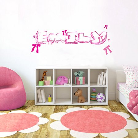 "pink ribbon font1 h12"" made-to-order baby name kid room nursery wall"