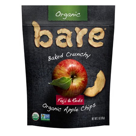 Bare Organic Baked Crunchy Apple Chips Gluten Free Fuji & Reds -- 3 oz pack of 2