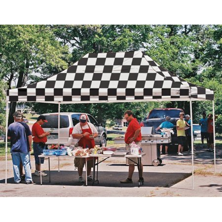 Flag Canopy (10' x 15' Pro Pop-up Canopy Straight Leg, Checker Flag Cover )