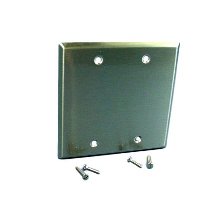 Cooper/Arrow Hart ANTIMICROBIAL 2-Gang Stainless Steel Blank Cover Wallplate Box Mount