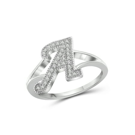 White Diamond Sterling Silver Initial Spell it Out Ring