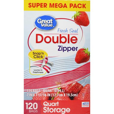 Great Value Double Zipper Storage Bags, Quart, 120 (Quart Size Plastic Bag For Carry On)
