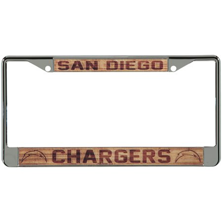 San Diego Chargers Wood Design Acrylic License Plate Frame - No Size