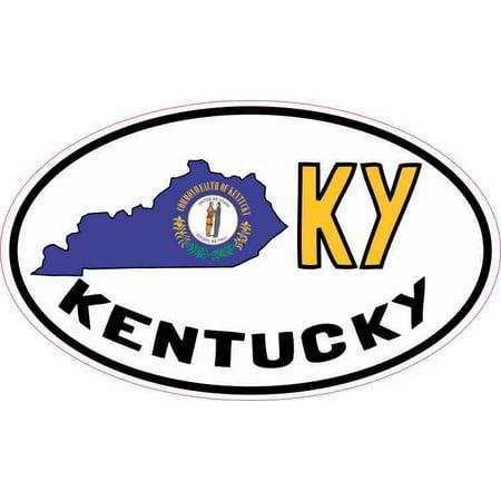 5in x 3in Oval KY Kentucky Sticker Vinyl Car Bumper Decal Luggage Stickers - Car Mart Lexington Ky