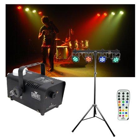 - Chauvet DJ Lighting 4BAR Tri USB Tripod LED RGB Wash Light Remote & Fog Machine