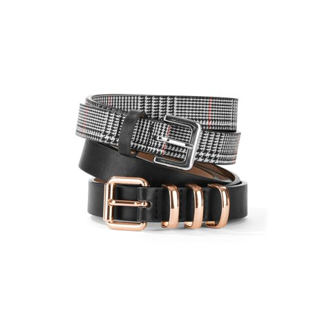 Tignanello Women's Plaid and Black Belt 2-Pack