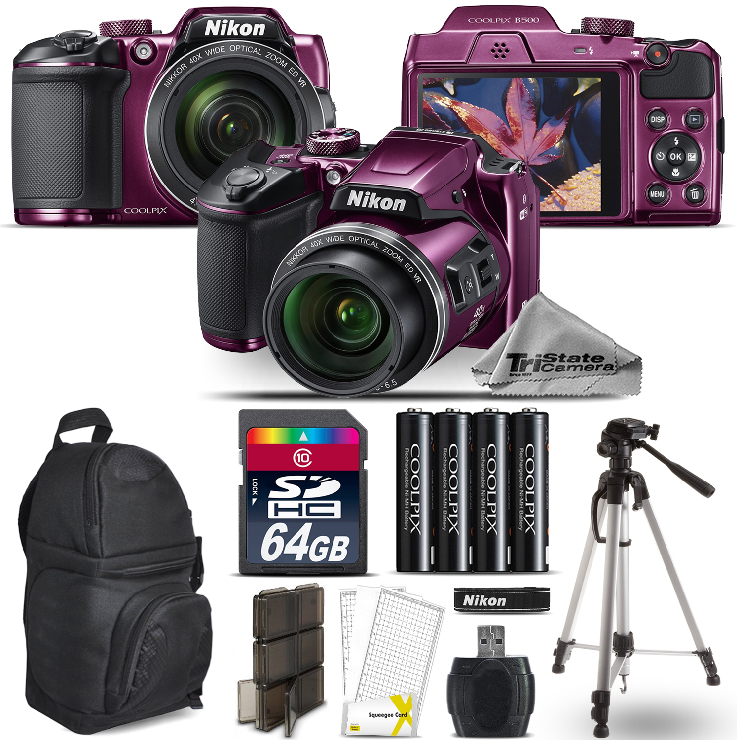 Nikon COOLPIX B500 Plum Camera 40x Optical Zoom + Tripod + Backpack - 64GB Kit