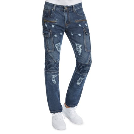 Mens Slim FIt Distressed Moto Zipper Cargo Jeans by Trillnation