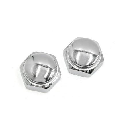 2 Pcs 22mm Thread Dia Metal Motorcycle Steering Wheel Shaft Cap Acorn Hex Nuts (Shaft Cap Nut)
