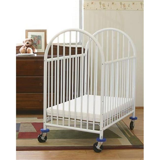LA Baby Compact Metal Non Folding Crib with 3 in. Mattress