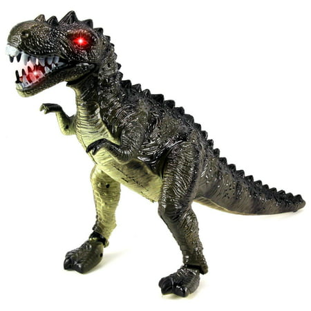 Battery Operated Tyrannosaurus Rex Walking Toy Figure w/ Realistic Movement, Light Up Eyes (Colors May Vary) T Rex Toy Dinosaur - Blow Up T Rex
