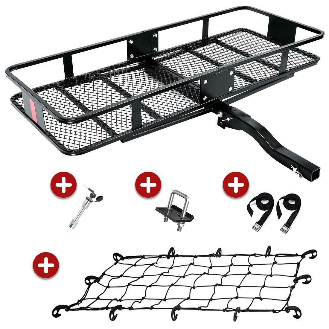 King Bird Upgraded 550lbs Capacity 60 X 24 X 6 Hitch Mount Folding Cargo Carrier Fits To 2 Receiver Heavy Duty Cargo Basket With Trailer Hitch Lock Hitch Stabilizer Net And Straps Walmart Com