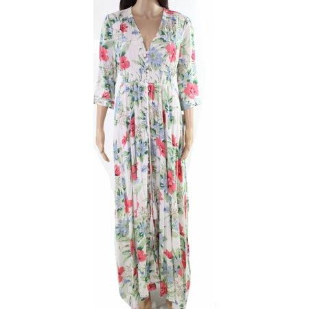 5d3af1b90919b Designer Dresses - Designer Womens Floral Print Button Down Maxi Dress -  Walmart.com