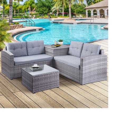 4 Piece Patio Furniture Set, All-Weather Outdoor Sectional Sofa Set, PE Rattan Conversation Set with Storage Box, Table & Cushions, Wicker Furniture Couch Set for Patio Deck Garden Poolside Yard, B862