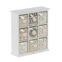 Decmode Modern 9-Drawer Wood And Ceramic Jewelry Storage Chest, White