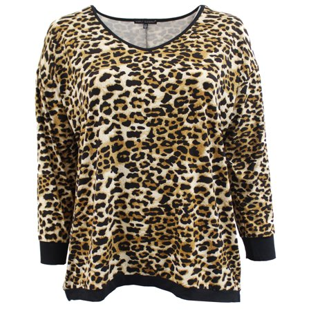 6bcf984b9c Dreamer P - Womens Plus Size Leopard Animal Print Knit Sweater Blouse Tee  Shirt Top Brown Coffee 1XL (17053) - Walmart.com
