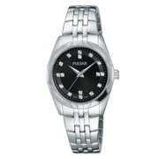 Womens Night Out Dress Watch - Swaroski Crystals - Black Dial - Stainless