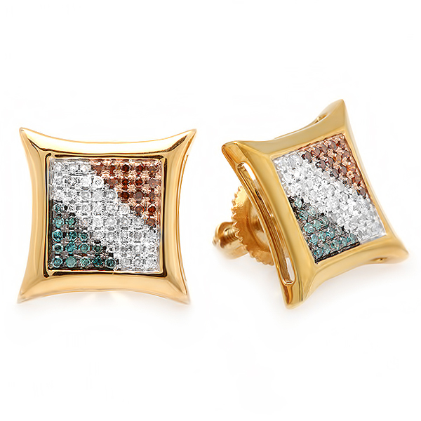 0.33 Carat (ctw) Blue, White & Red Round Diamond Micro Pave Setting Kite Shape Stud Earrings 1/3 CT