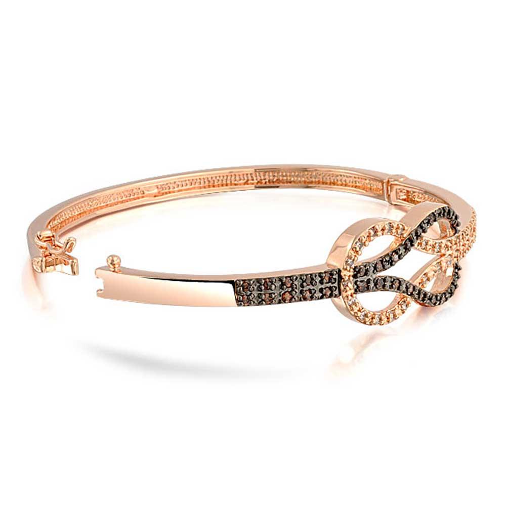 Rose Gold Plated Infinite U Girls 925 Sterling Silver Cubic Zirconia Cute Butterfly Charm Adjustable Link Bracelets