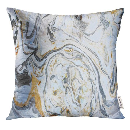 EREHome Watercolor Abstract Marbling Ink Hand Acrylic Black White Gold Silver and Gray Colors Artwork Water Paint Pillow Case 20x20 Inches Pillowcase - image 1 of 1