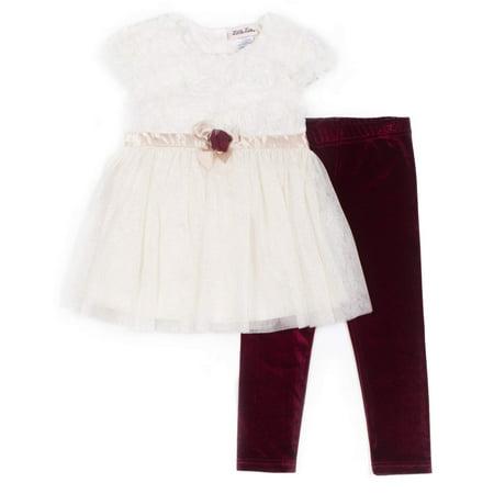 Glitter Tulle Top & Velvet Legging, 2-Piece Holiday Outfit Set (Little Girls)