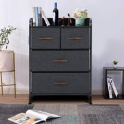 Erommy Dresser for Bedroom with 4 Drawers,Fabric Dresser Tower for Closets,Bedroom, Hallway- Sturdy Steel Frame, Wooden Top(Grey)