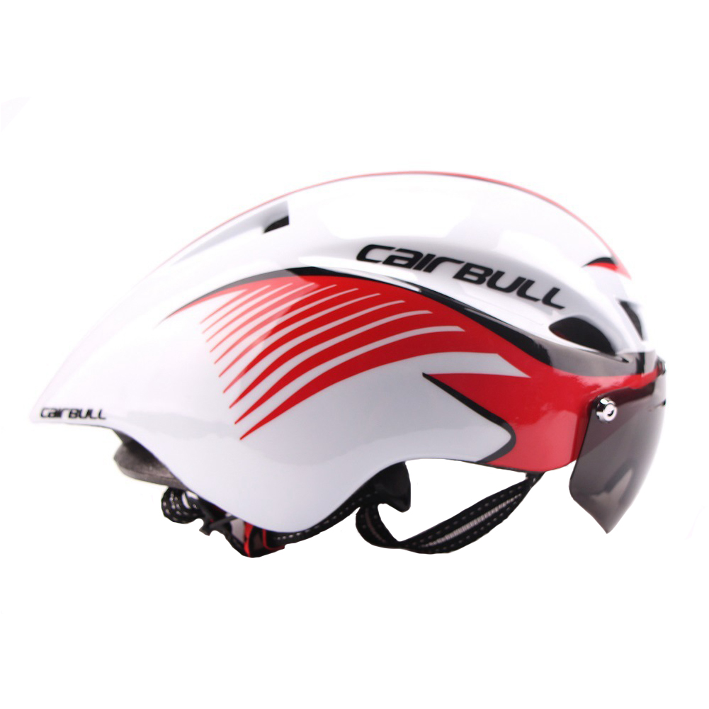 Ultralight Cycling Helmet with TT Goggles, Safety Helmet for Motorcycle Bike Riding Color:Black red