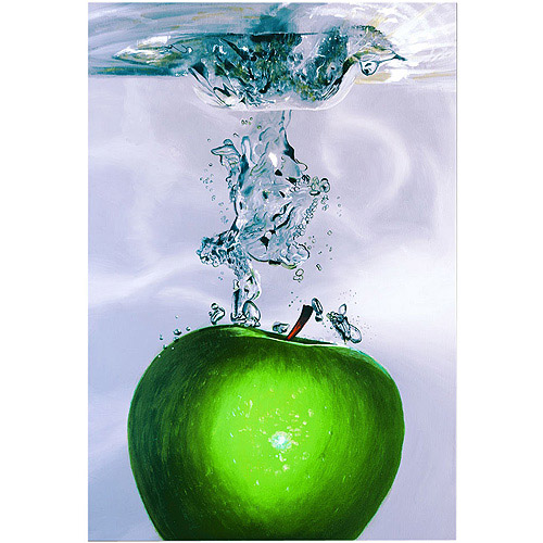 "Trademark Art ""Apple Splash II"" Canvas Art by Roderick Stevens, 22x32"