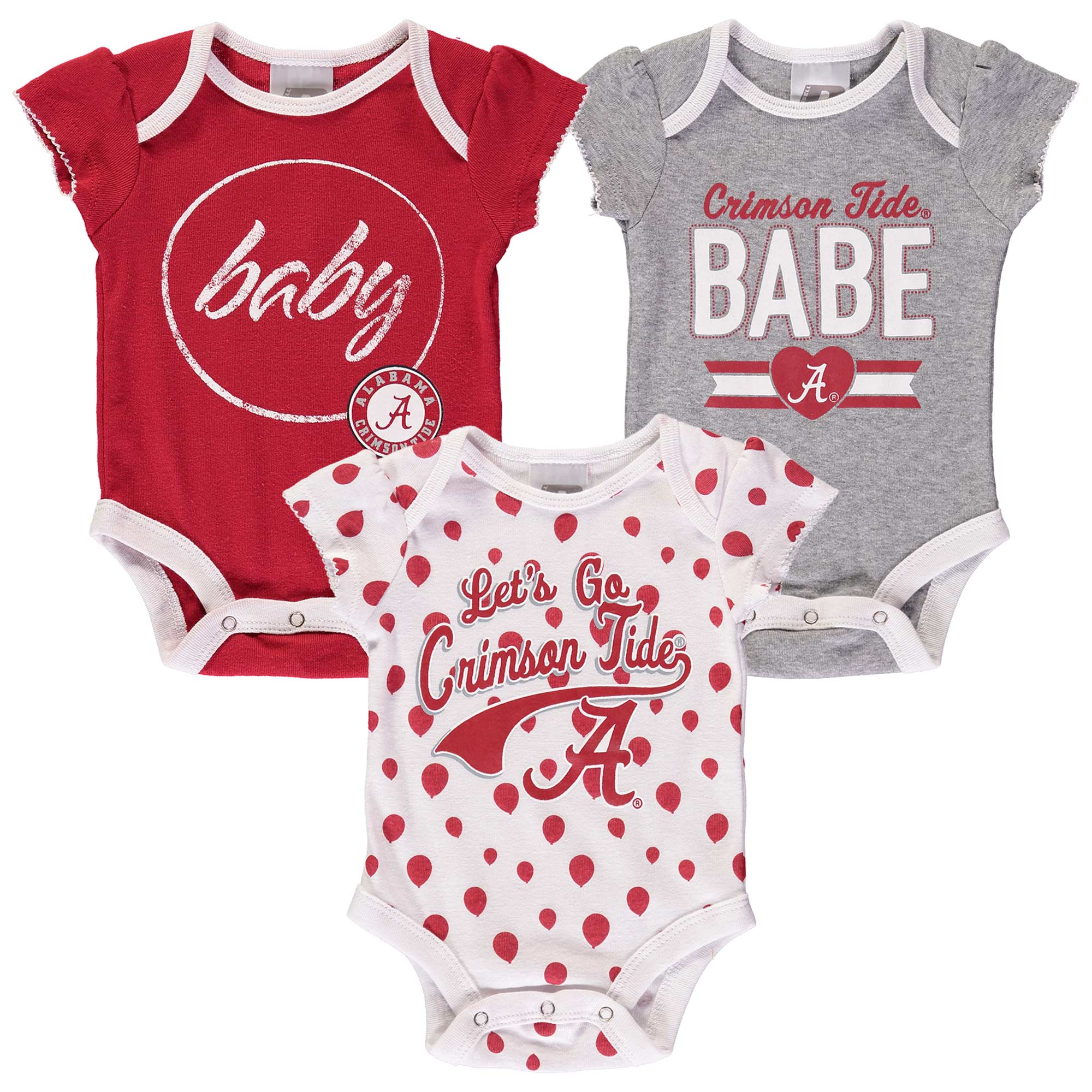 Girls Newborn & Infant Russell Crimson Alabama Crimson Tide Three-Pack Bodysuit Set