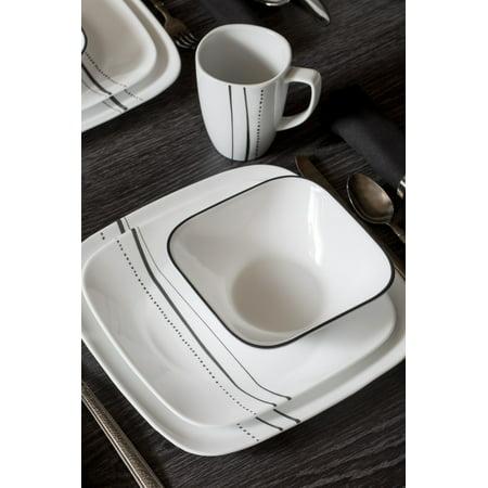 Corelle Square 16-Piece Cascading Lines Dinnerware Set ()