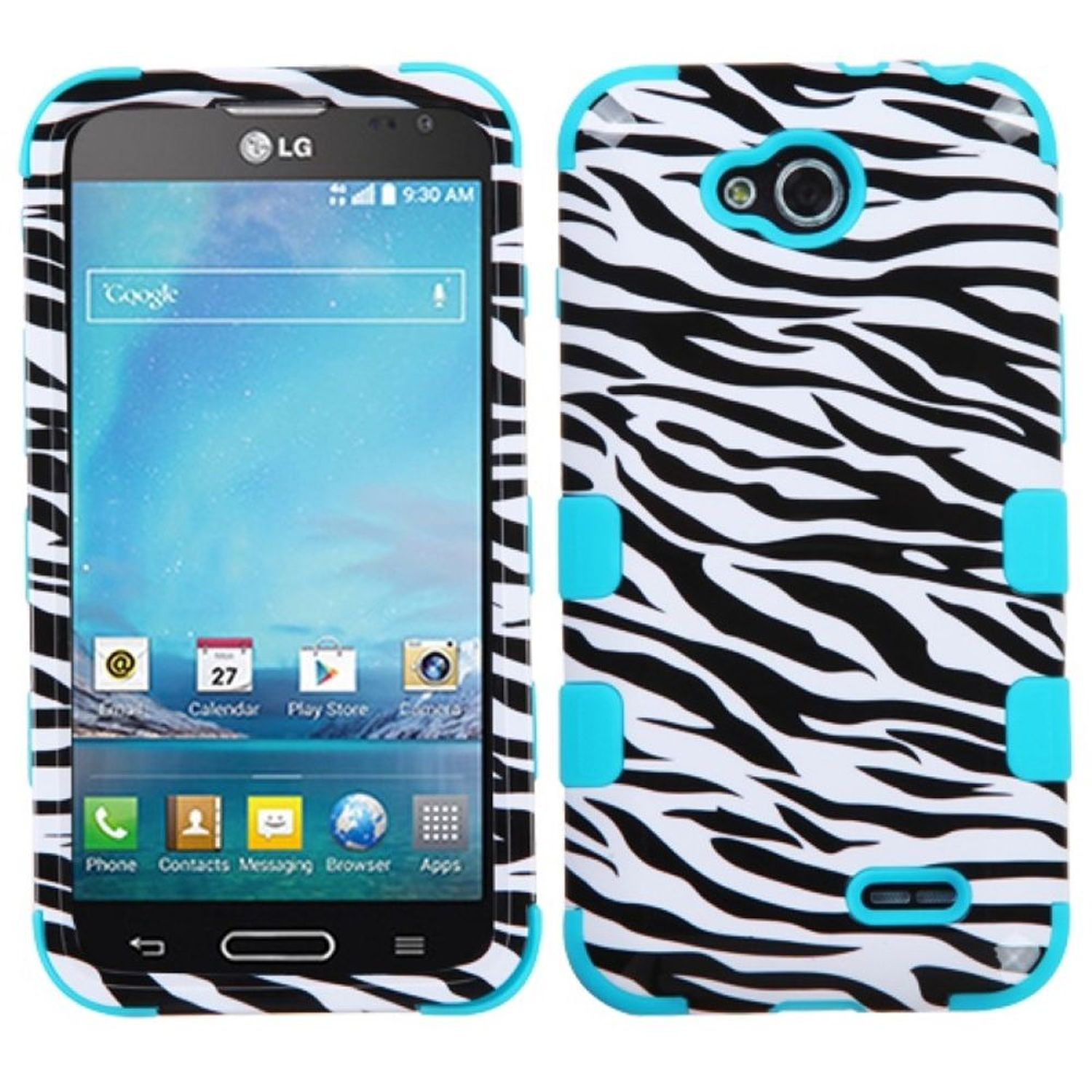 Insten Zebra Skin/Tropical Teal TUFF Hybrid Rugged Hard Shockproof Case Shell For LG D415 Optimus L90