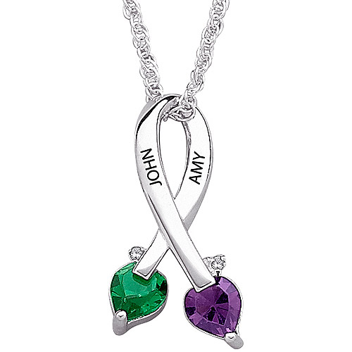 Personalized Sterling Silver Couple's Birthstone Name Pendant with Diamond Accents