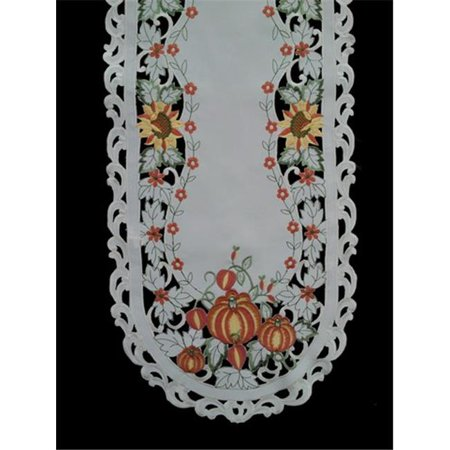 Sinobrite H7855-P Pumpkin Oval Runner, 16 x 36 in.