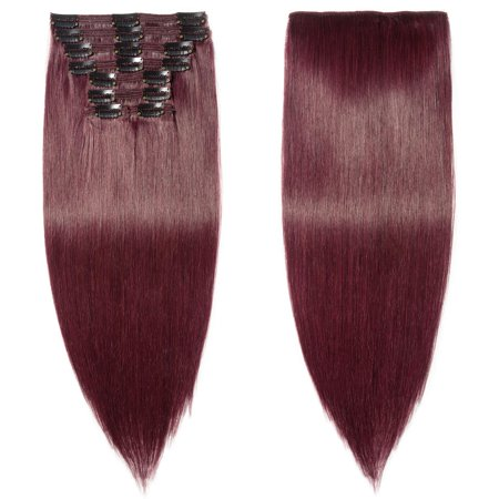 S-noilite 100% Remy Human Hair Real Thick Clip In Human Hair Extension 8 pcs Wine (Clip In Human Hair Extensions)