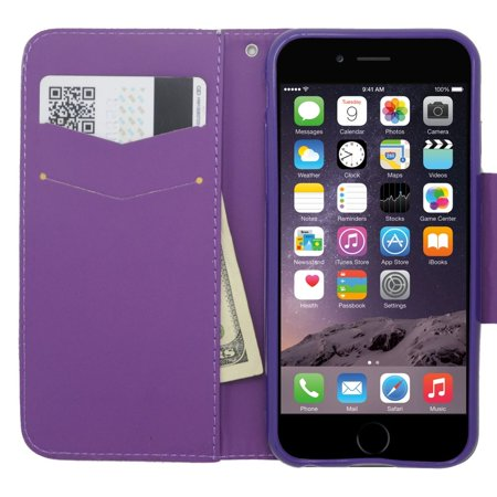 the best attitude c25a9 1d307 Insten Flip Leather Wallet Cover Case with card slot For Apple iPhone 6s /  6 - Purple/Gold