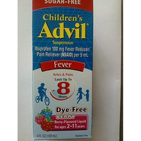 4 Pack Advil Children's Suspension Sugar-Free, Dye-Free Berry Flavor 4 Oz Each