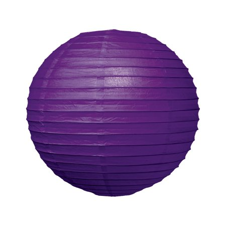 Premium Paper Lantern, Clip-On Lamp Shade (16-Inch, Parallel Ribbed, Plum Purple) - Chinese/Japanese Hanging Decoration - For Parties, Weddings, and - Plum Hanging