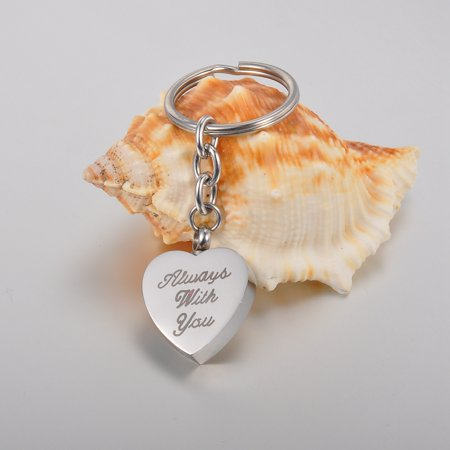 - ALWAYS WITH YOU Heart Cremation Jewelry Ashes Keepsake Memorial Urn Key Chain