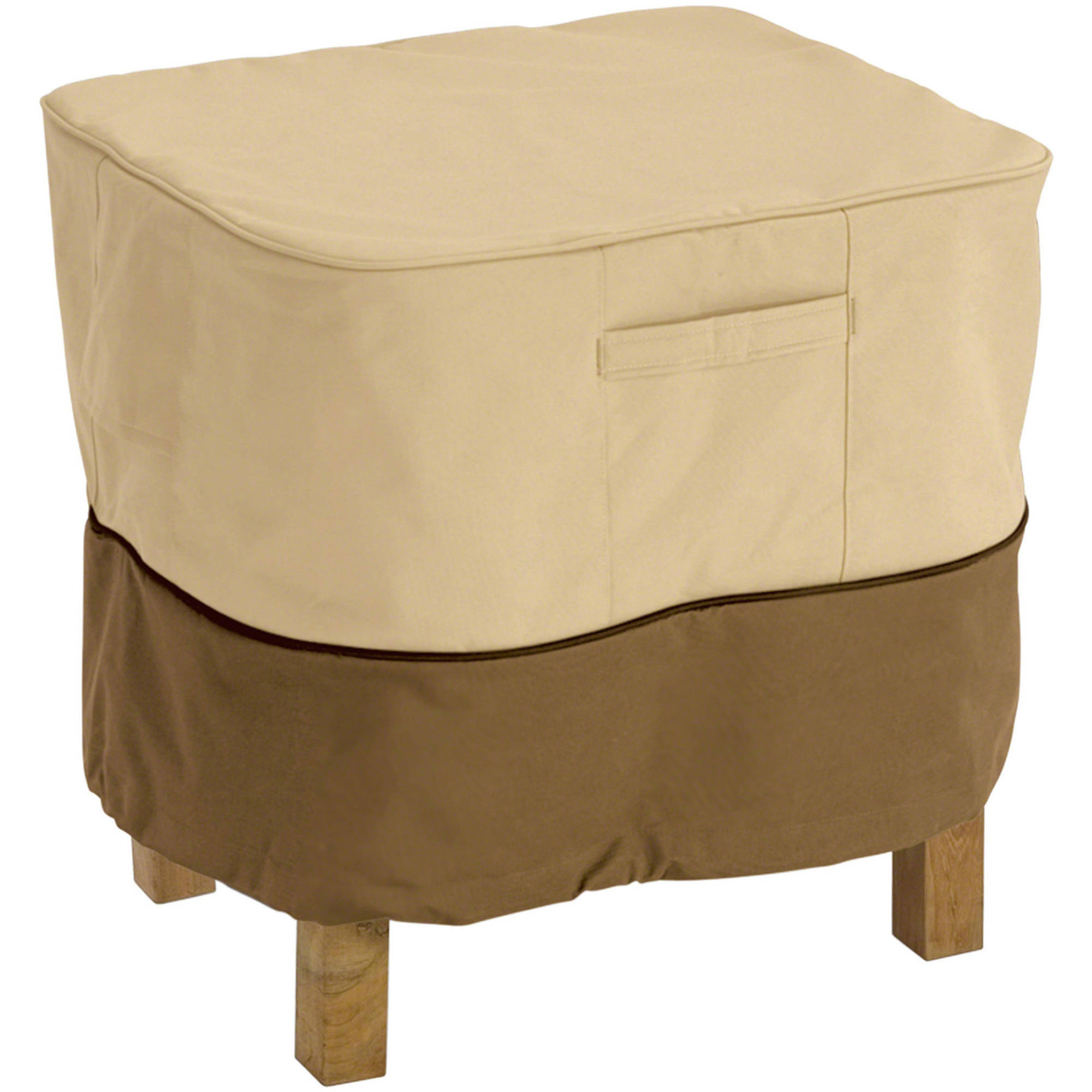"Classic Accessories Veranda Square Patio Ottoman and Table Furniture Storage Cover, fits up to 26""L x 26""W"