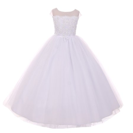 - Rain Kids Girls White Sheer Organza Satin Sequin Pearl Communion Dress