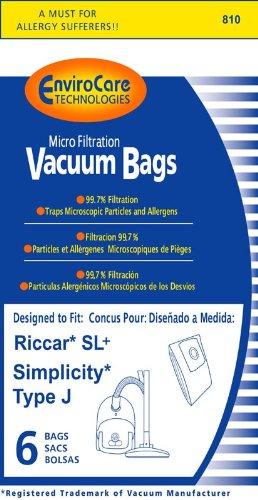 6 Type J Allergy Bag for Simplicity Champ Riccar SL Supralite Plus Tank Vacuum