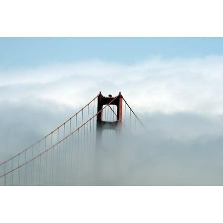Laminated Poster Golden Gate Bridge Fog Landmark Suspension Poster Print 11 x 17 - Golden Gate Bridge Landmark
