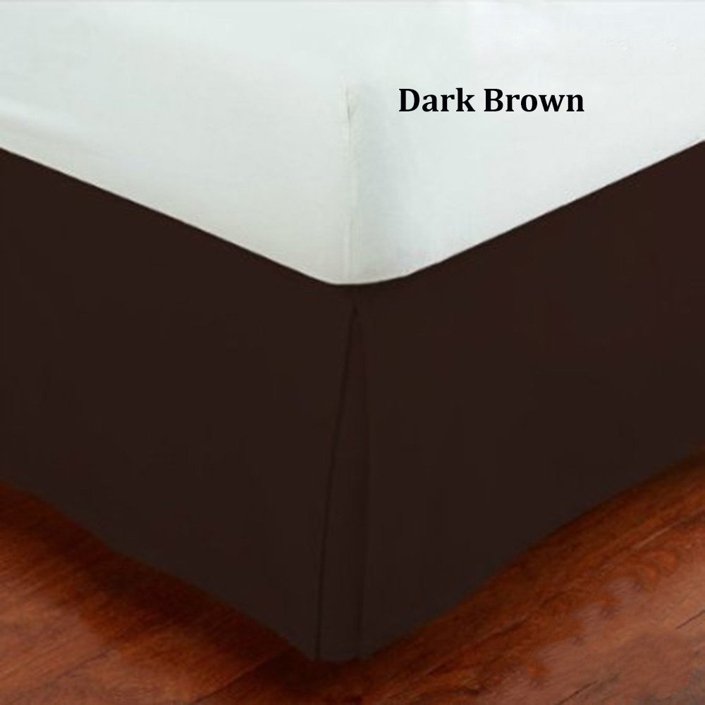 Fancy Collection 14 Inch Drop Tailored Pleated Bed Skirt Queen Size Solid Brown Chocolate New