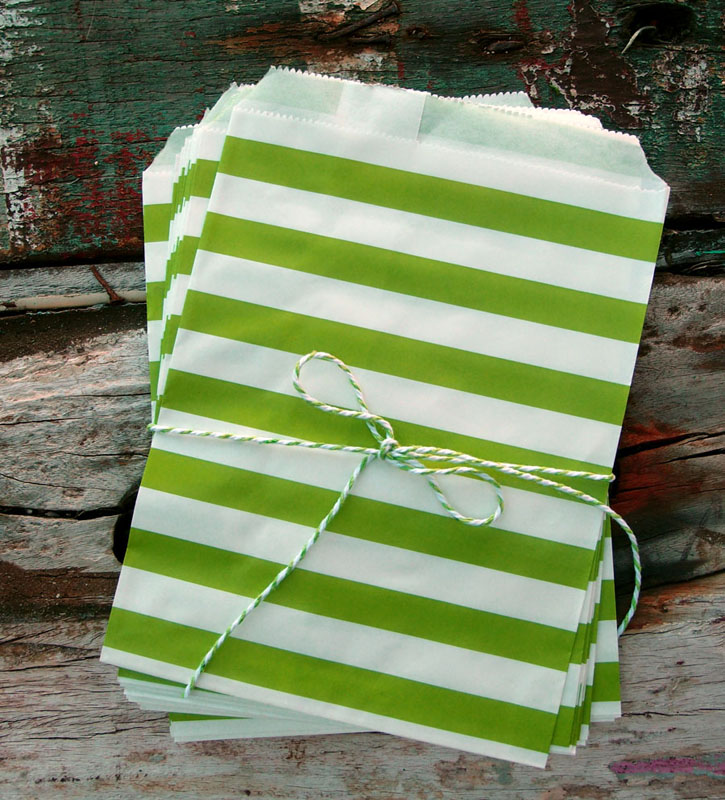 Light Lime Stripe Paper Treat Bags - (12 PCS)