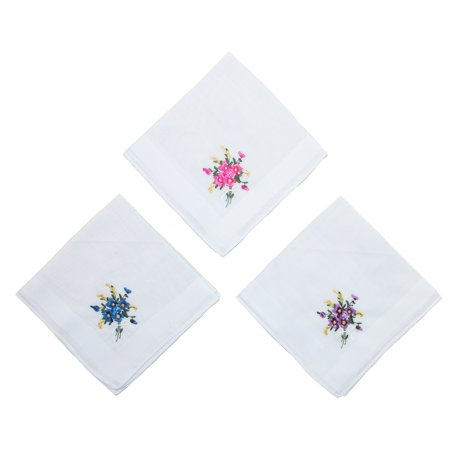 Selini Women's Floral Embroidered Cotton Handkerchief Set (Pack of 3) - image 3 of 4