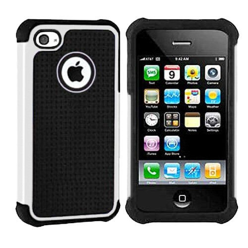 Importer520 Hybrid Armor Silicone + Hard Case Cover for Apple iPhone 4, 4S (AT&T, Verizon, Sprint) White + Black