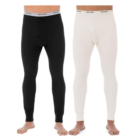 Fruit of the Loom SUPER VALUE 2 Pack Men's Waffle Super Soft Pants Thermal Underwear (2 Pants) ()